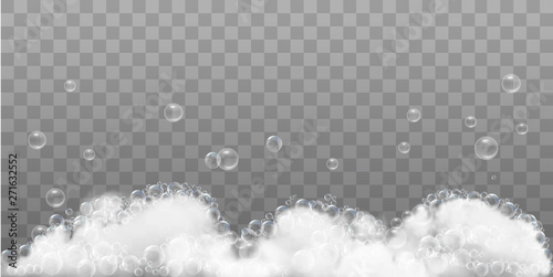 Soap foam and bubbles on transparent background Fototapet