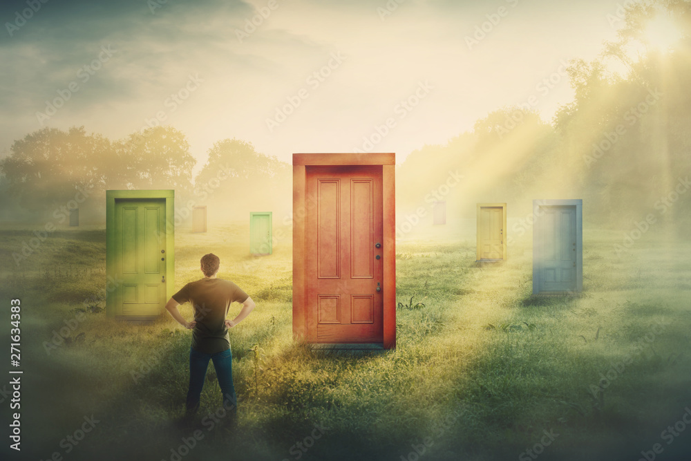 Fototapety, obrazy: Doubtful man in front of many different doors choosing one. Difficult decision, concept of important choice in life, failure or success. Ways to unknown future career development.