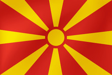 Vector National Flag Of Macedonia. Illustration For Sports Competition, Traditional Or State Events.