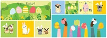 Happy Easter Cards In The Flat Design. Vector Illustrations Of Easter Eggs On The Nature View And With Cute Puppy Dogs And Cats With Rabbit Ears, Spring Flower, Eggs And Hand Drawn Text
