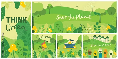 Foto auf Gartenposter Lime grun Vector illustration ECO background of Concept of green eco energy and quote Save the planet. Landscape, forest, people activists with eco banners in flat geometric style.