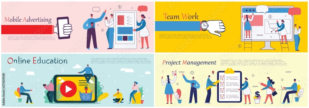 Fototapety, obrazy: Vector illustrations of the office concept business people in the flat style. E-commerce, online education, project management, start up, digital marketing and mobile advertising business concept