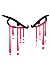 Blut Tropfen 2 Augen Graffiti Weinen Heulen Tränen Gothic Böse Horror Halloween Comic Cartoon Clipart Design Logo Gruselig Gesicht Ansehen