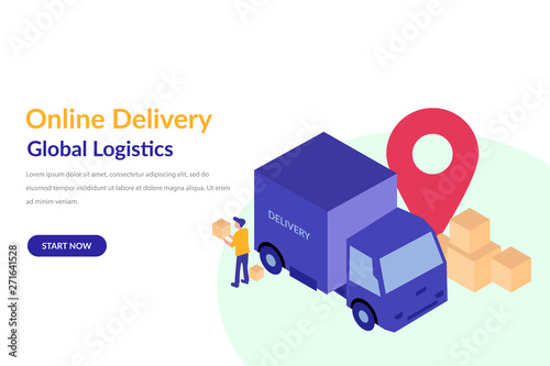 Online Cargo Tracking Delivery Application concept for web landing