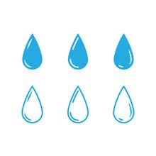 Water Drops Icon Set. Liquid Drop Symbol Illustration. Outline Waterdrop.