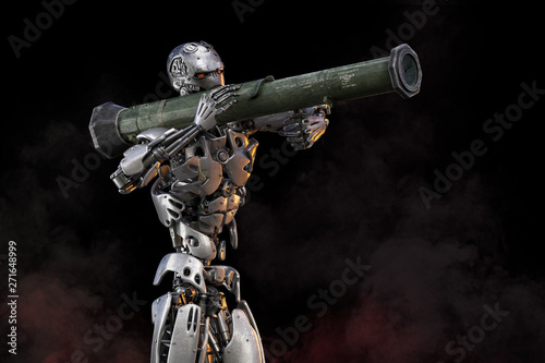 Photo Robot with bazooka rocket launcher