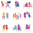 European Lesbian woman couples. Flat cartoon style.