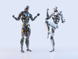 Couple of positive joyful modern robots celebrating victory, expressing, isolated. Technology, communication, artificial intelligence and relationships concept. 3D illustration.