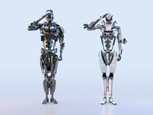 Couple Of Modern Robots Soldie...