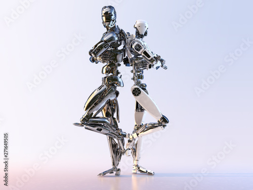 Couple of modern cyborg robots  standing back to back, isolated Tablou Canvas