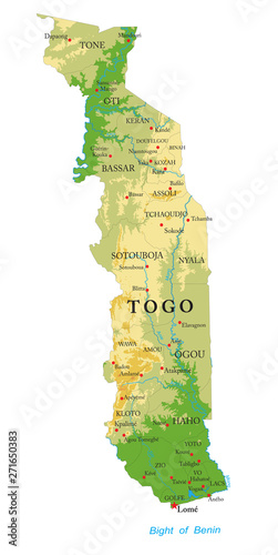 Photo  Togo physical map