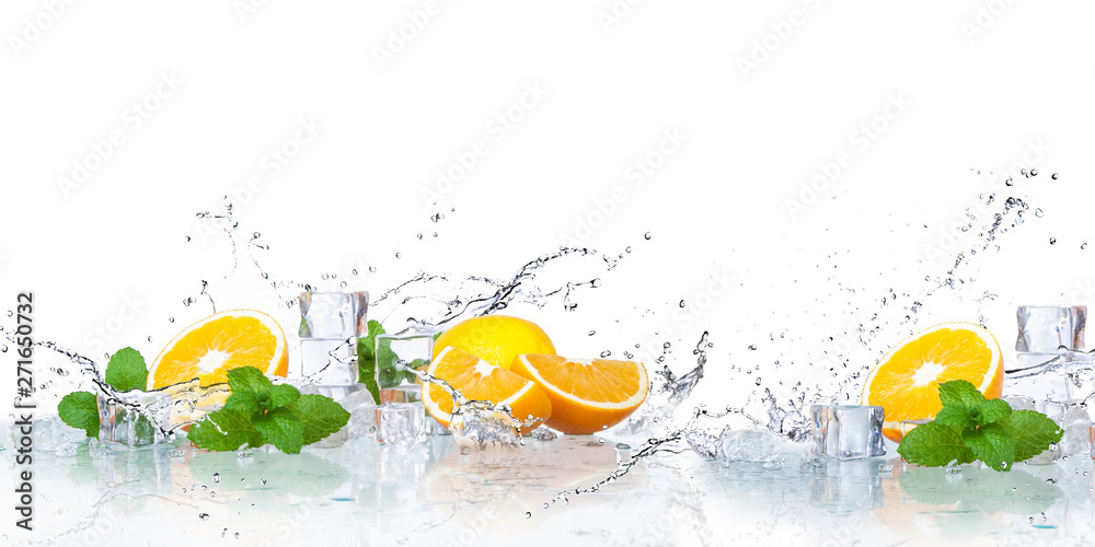 Fototapeta ice cubes, mint leaves with oranges isolated on a white background