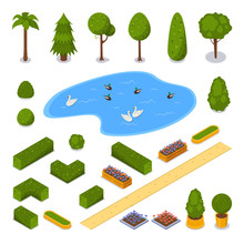 City Park 3d Isometric Icons. ...