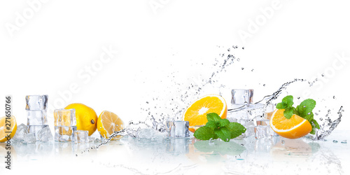 ice cubes, mint leaves with lemons isolated on a white background