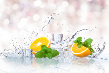 Ice Cubes, Mint Leaves With Or...
