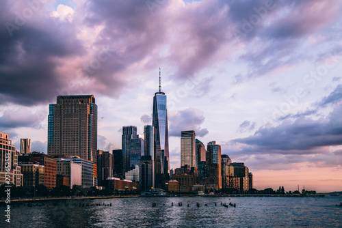 Photo  Panoramic view of Manhattan Island with buildings and Hudson river