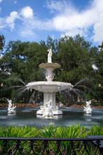 White Fountain In Forsyth Park