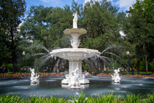 Elegant White Fountain In Park