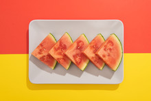 Summer Juicy Fruit Watermelon In Colorful Background From Above