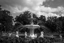Grey Tone Fountain In Forsyth Park