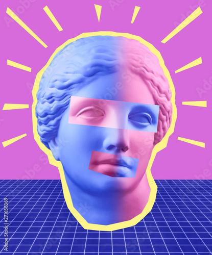 canvas print motiv - Ded Pixto : Modern conceptual art poster with blue purple colorful antique Venus bust. Contemporary art collage.
