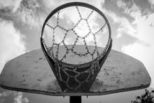 Black And White Underneath Basketball Hoop