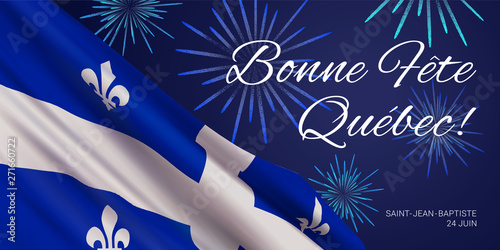 Fotografia  Vector banner design template with flag of Quebec province, fireworks and text on blue background