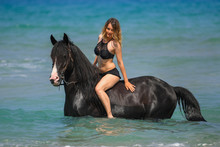 Portrait Of A Beautiful Blond Girl Sitting On The Back Of Her Black Horse On The Sea Beach