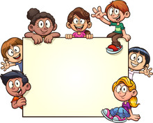 Cartoon Kids With Big Blank Banner Clip Art. Vector Illustration With Simple Gradients. Some Elements On Separate Layers.