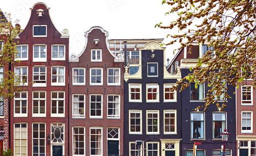 Amsterdam Netherlands dancing houses with traditional deutch windows Canvas Print