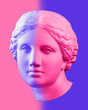 canvas print picture Modern conceptual art poster with blue pink colorful antique Venus bust. Contemporary art collage.
