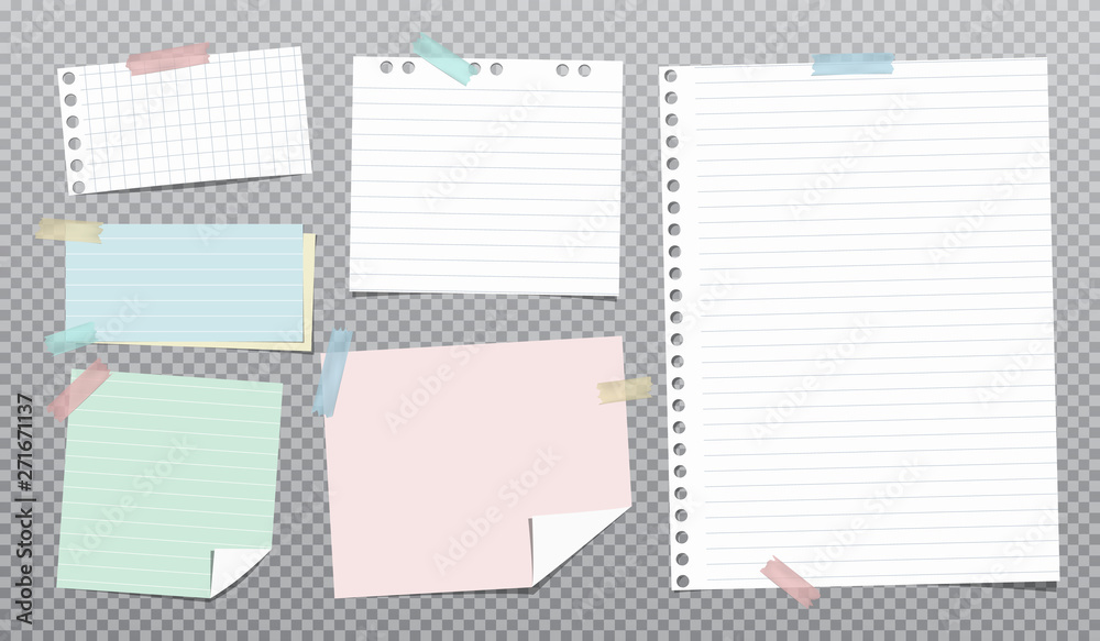 Fototapeta White, colorful and lined note, notebook paper stuck on grey squared background. Vector illustration