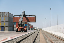 Crane Lifting Cargo Container ...