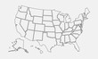 USA map outline. United States vector blank map. US line map template