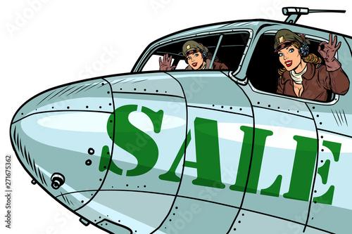 women pilots flying on sale, bomber Fototapeta