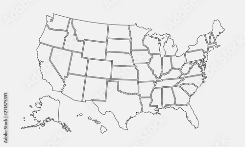 USA map outline. United States vector blank map. US line map ...