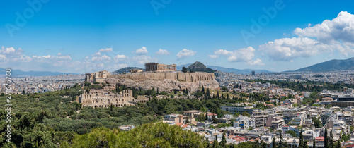Printed kitchen splashbacks Athens Acropolis and Lycabettus Hill framed by trees from the summit of Lycabettus hill