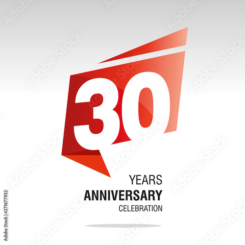 Fotografia  30 Years Anniversary origami speech logo icon red white vector
