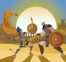 Troy Trojan Horse Scene And Ac...