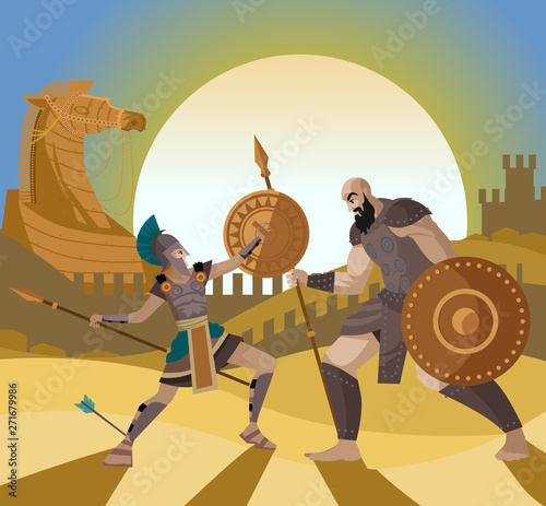 troy trojan horse scene and achilles fighting a warrior Canvas Print