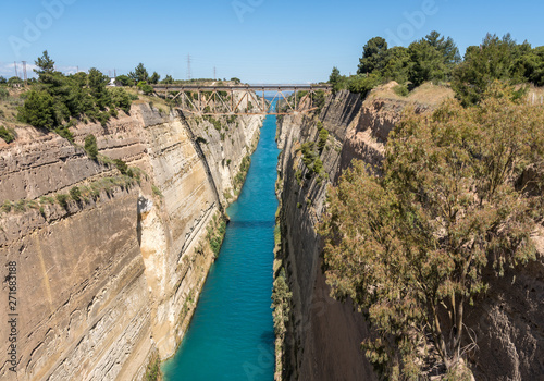 Fototapeta View from bridge over the Corinth Canal near Athens in Greece