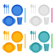 Bright Plastic Tableware And Napkins Isolated On White. Plastic Dishes, Plastic Plate, Fork, Spoon, Knife, Glass, Tube