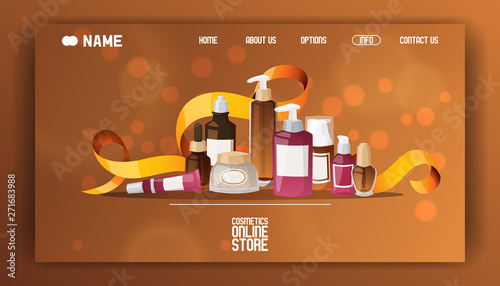 Beauty Cosmetic Store Landing Page Vector Flat Illustration Health And Beauty Shop With Cosmetics Make Up Concept Different Cosmetics Gifts Creams For Body Professional Perfume Banner Buy This Stock Vector And