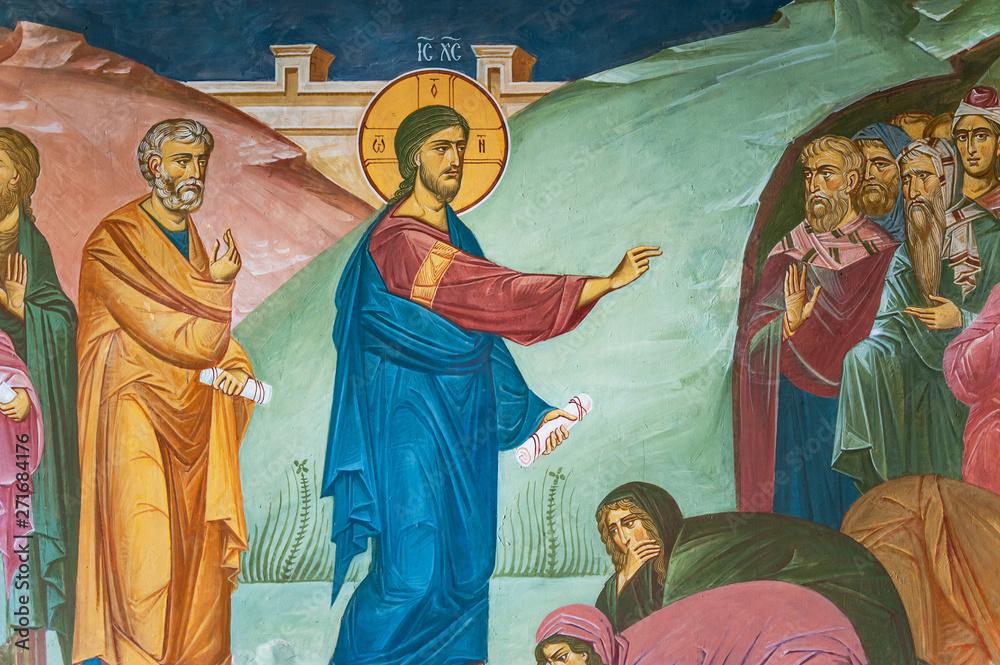 Fototapety, obrazy: Mural painting of preaching Jesus Christ in Tolga Monastery