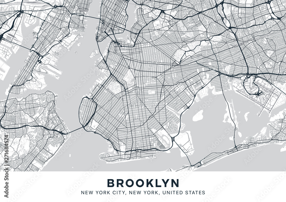 Fototapeta Brooklyn map. Light poster with map of Brooklyn borough (New York, United States). Highly detailed map of Brooklyn with water objects, roads, railways, etc. Printable poster.