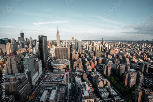 view from top on Madison Square Garden and Empire State Building Canvas Print