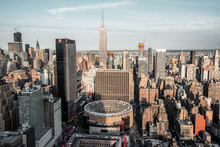 View From Top On Madison Square Garden And Empire State Building
