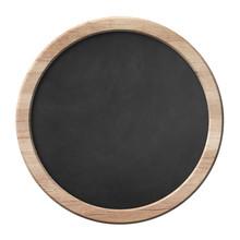Round Blackboard With Bright Wooden Frame