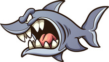 Angry Gray Shark With Big Open Mouth Clip Art. Vector Illustration With Simple Gradients. All In A Single Layer.