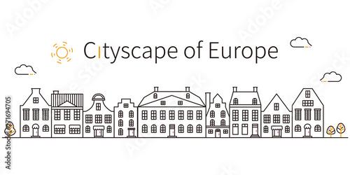 3色の線画 ヨーロッパの街並み 黒基調